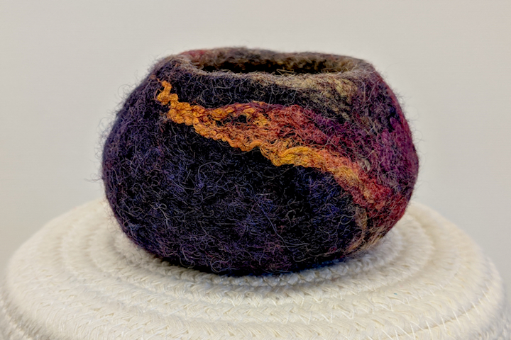 Wet Felted Vessel with Silk and Wool Fibres