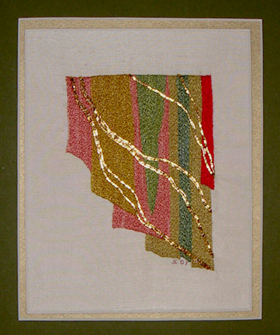 Hand Embroidered Abstract with Gold Threads on Silk Fabric