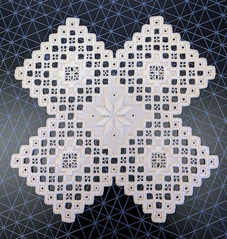 Hand Stitched Hardanger Design on Linen