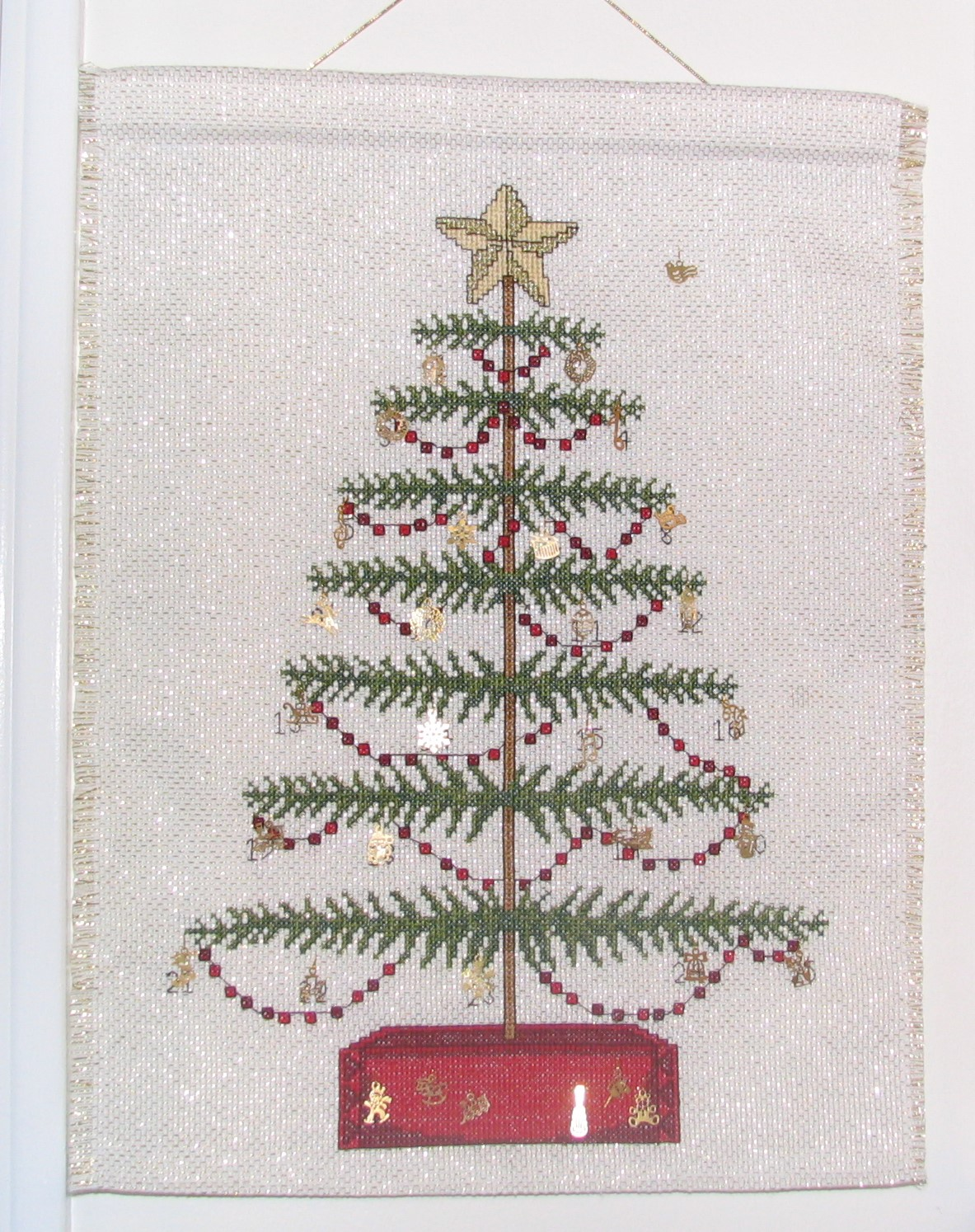 Hand Embroidered Cross Stitched Tree