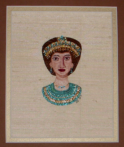 Hand Stitched and Beaded with Single Strand Silk Thread on Silk.