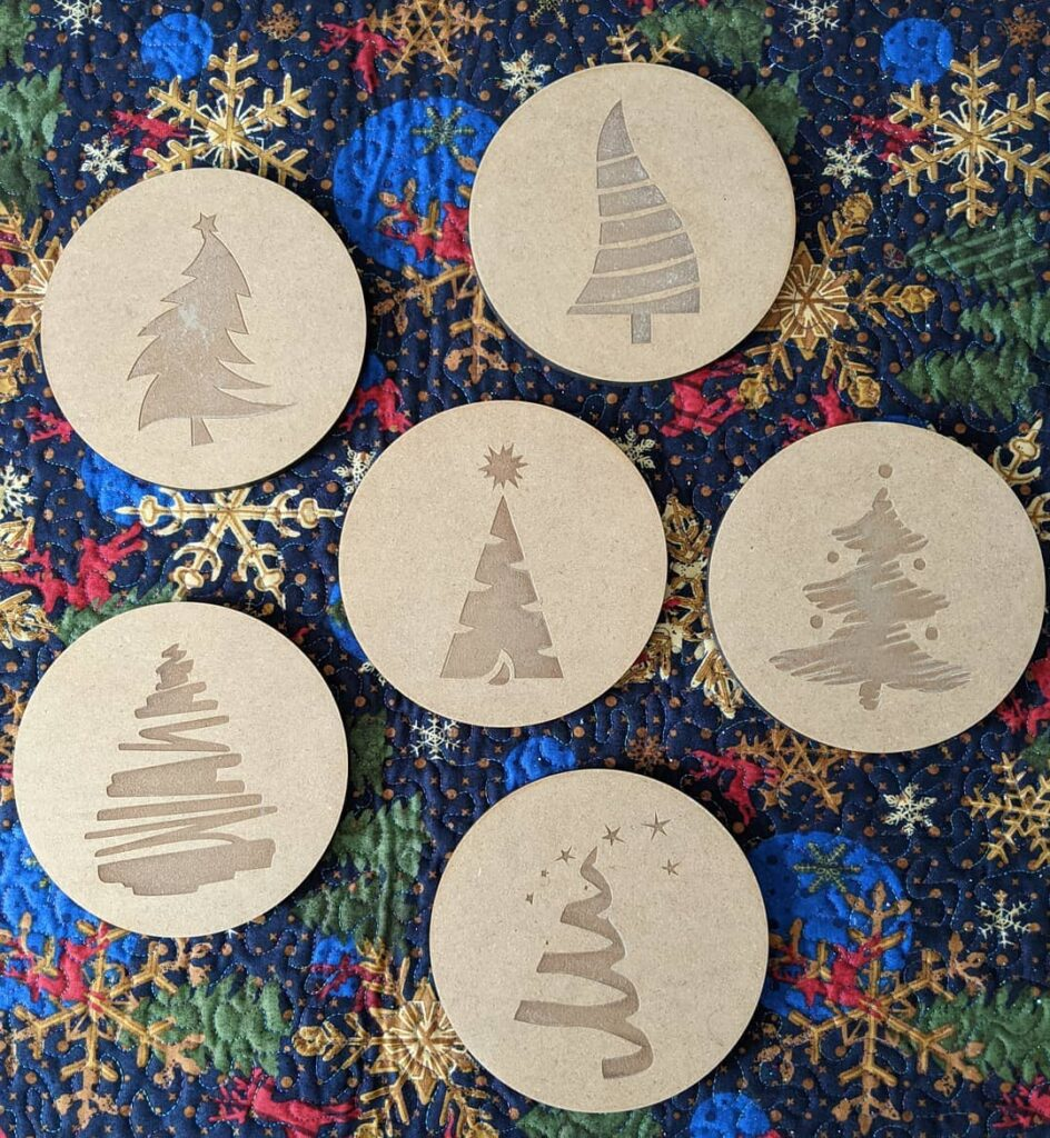 Merry Christmas everyone! #textileartist #lasercutting #experimentingwithwood #pinegrovenovascotia #merrychristmas2020 #christmastrees