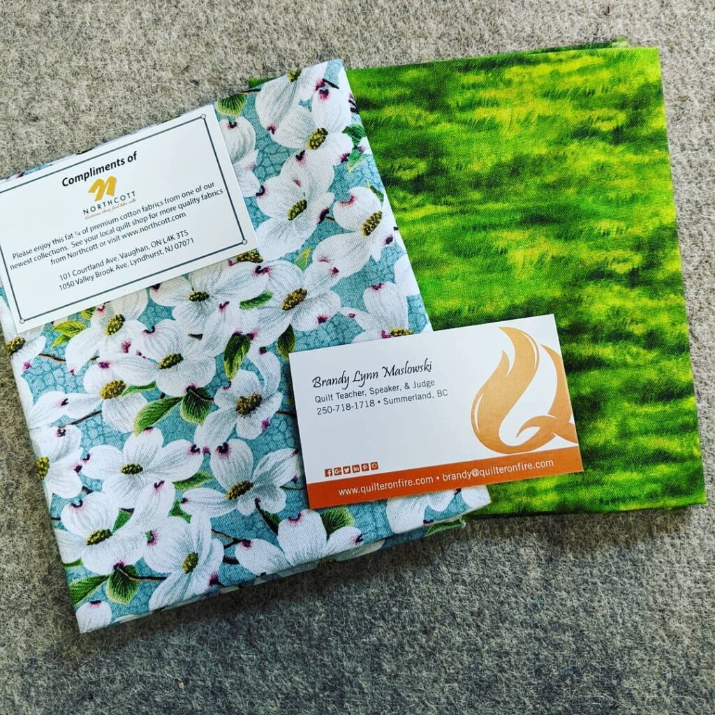 I won these two fat quarters from a zoom class with Brandy Maslowski, @quilteronfire, sponsored by the Mahone Bay Quilt guild, NS. Thanks so much. #quilteronfire #brandymaslowski #mahonebayquiltersguild #novascotia #fatquarters #northcottfabrics