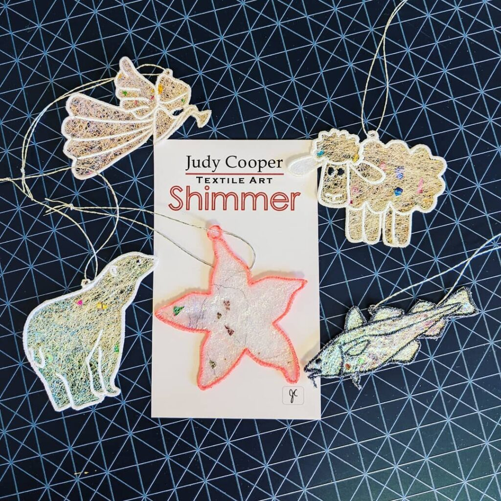 A bunch of these Shimmer Ornaments will soon be heading to Bonne Bay, Newfoundland.  Shimmers are lightweight and shimmery! These tiny pieces of art look beautiful as window sun- catchers,