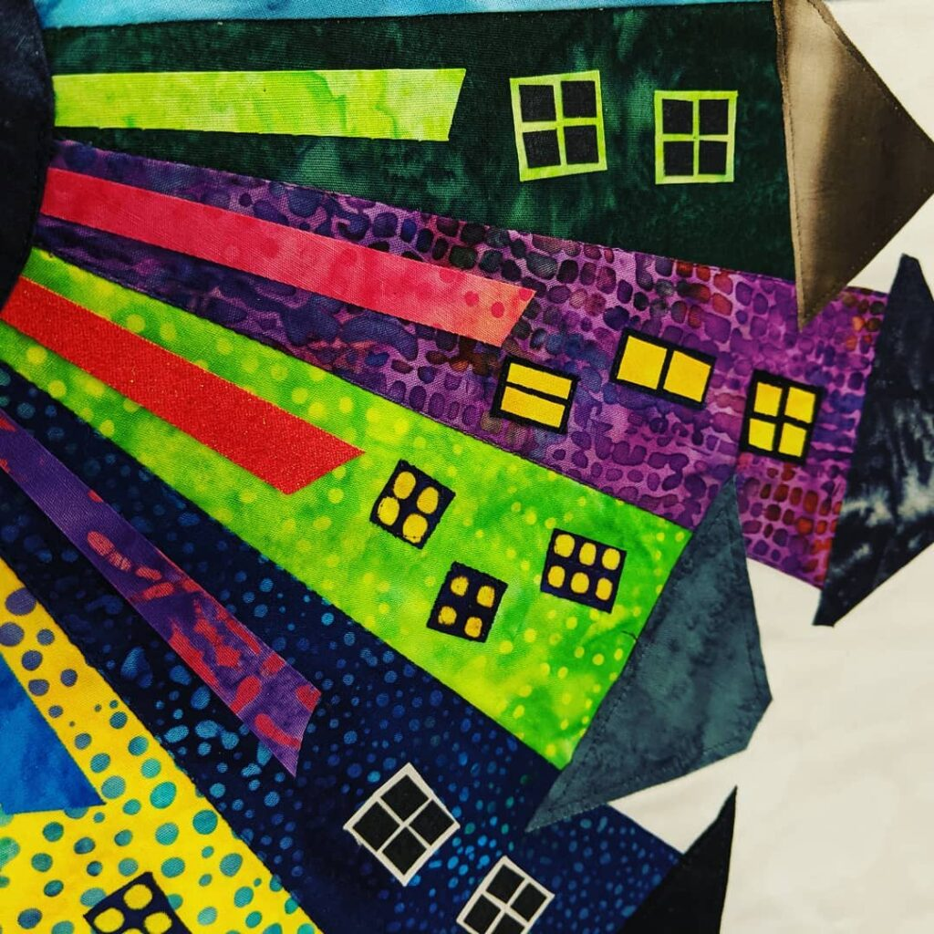 My Dresden Neighbourhood! It's almost finished. Quilting and binding left to do. To see the piece and read more about this project, check out my latest blog post at https://www.judycooper.ca  #jctextileart