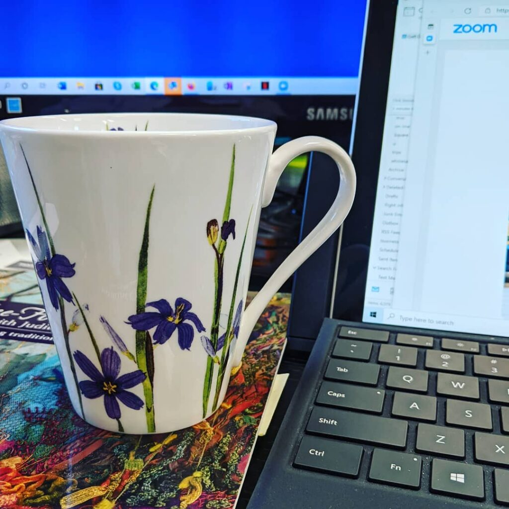 Already with my cup of tea for a zoom meeting with the Craft Council of NL. My mug is Newfoundland and Labrador Wildflowers by Dorothy Black, from The Rooms Collection.