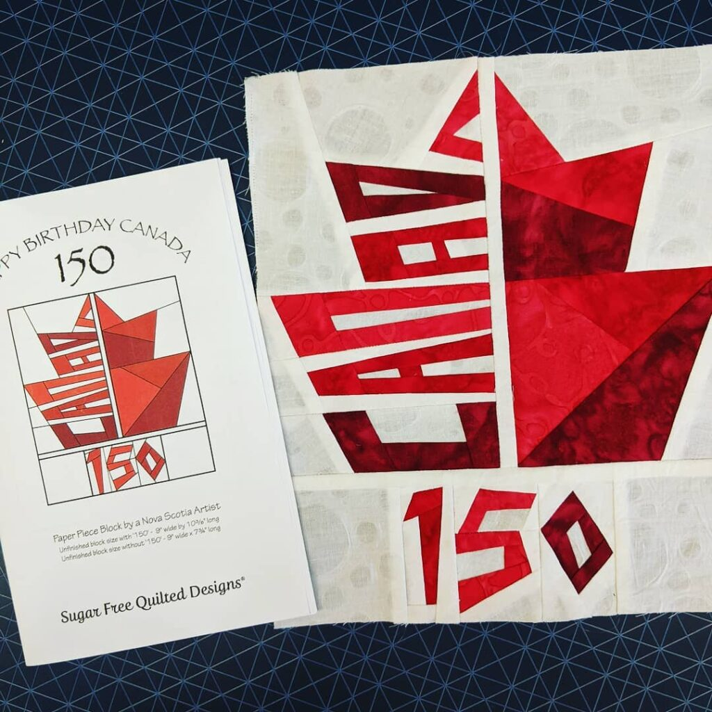 This was supposed to be made four years ago for Canada's 150 Birthday, but better late than never! I used all batiks from my stash, including the white fabric. Paper piecing wasn't my favorite piecing method. The last time I tried it was over 25 years ago. However, With the help of some YouTube videos, I got back into the groove of piecing this wee project! I'm thinking of putting on some borders and using a facing method to finish it off. At the moment, it will be put aside for awhile. I will be doing more paper piecing!!  #sugarfreequiltspatterns #paperpiecing #paperpiecesprojects #paperpieced #canada150 #jctextileart #pinegrovenovascotia #batiks #wallhanging #youtube #machinestitching #novascotiaartists #funproject